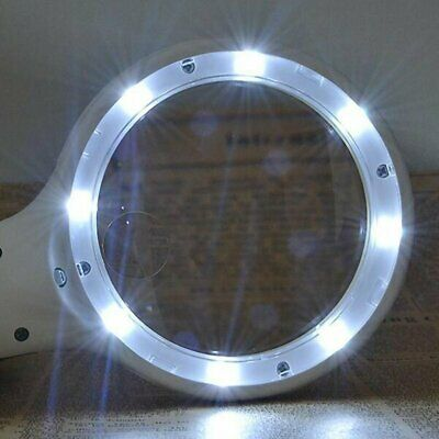 Hand Held 9-Led Illuminated Lighting Magnifier Magnifying Glass 8X Magnification