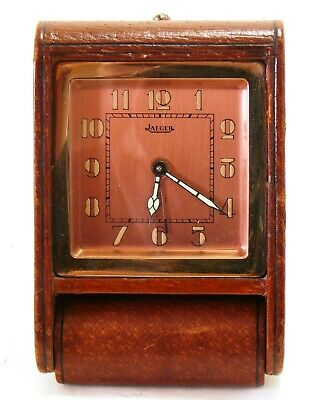 Vintage Jaeger LeCoultre brown leather travel alarm 8 day clock EXC+ #35049