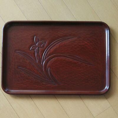 Kamakura-bori Tray Wood Carving Lacquer Vintage Daffodil Design
