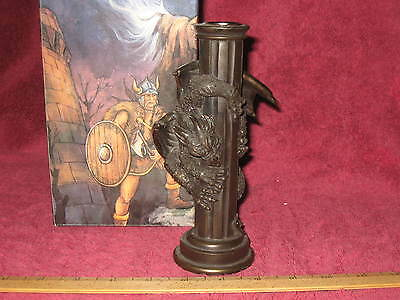 Fantasy/Gothic Dragon Brass-Like Single Candle Holder B - NEW IN BOX!