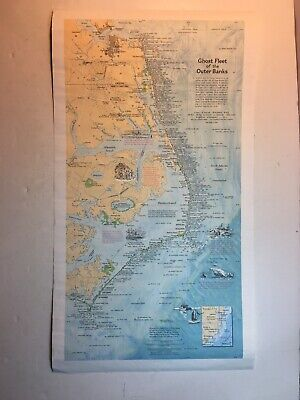 Ghost Fleet of the Outer Banks Shipwreck Map National Geographic 1970 21 By 11.5