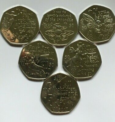 PERFECT XMAS GIFT: Isle of Man Peter Pan 50p coin set - 6 coins, brand new 2019