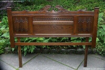 A Wood Brothers Old Charm Carved Light Oak Bedroom Double Bed Headboard Stand