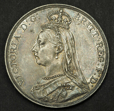 """1889, Great Britain, Queen Victoria.Large Silver """"Jubilee Bust"""" Crown. XF-AU!"""