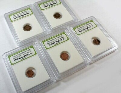 Slabbed Lot of 5 Ancient Roman Widows Mite Sized Bronze Coins c 50 BC - 400 AD l