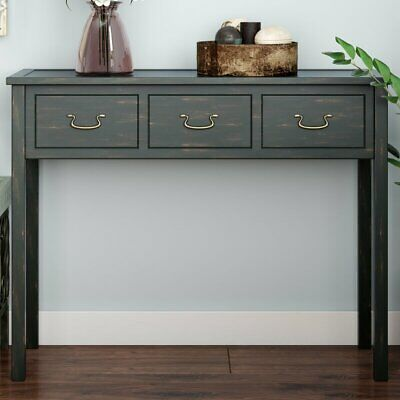 New Small Hall Way Side Console Table Top 3 Drawer Dark Teal Antique Solid Wood