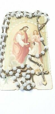 Antique French 1920's brass & glass Rosary