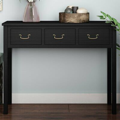 New Small Hall Way Side Console Table Top 3 Drawer Black Antique Solid Wood