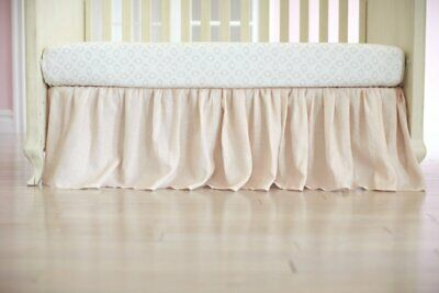 Just Born Keepsake Washed Linen Crib Skirt in Pink