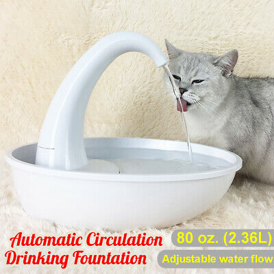 2.36L Automatic Pet Dog Cat Water Drinking Swan Fountain Drink Dish Filter Bowl