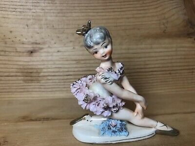 """COLLECTIBLE /""""BALLERINA IN PINK DRESS/"""" PINK+GREEN PORCELAIN+CERAMIC FIGURINE-NAIS"""