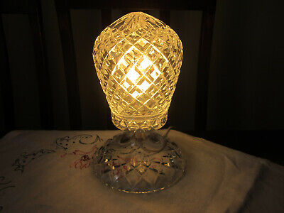Gorgeous Vintage Deco Diamond Cut Crystal Boudoir Lamp