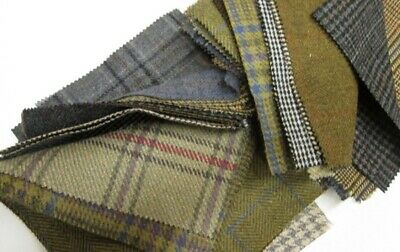 Harris Tweed Red Charcoal Tartan Remnants Offcuts with Label Choice of Sizes