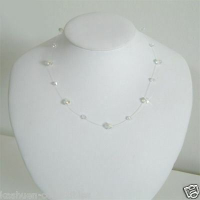 Floating Illusion~ Bridal made with Swarovski Crystal~ Sterling Silver Necklace