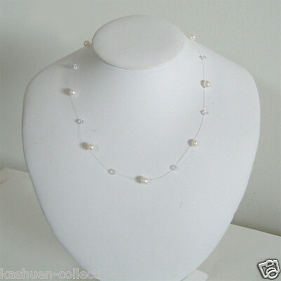 Floating Illusion w Swarovski CRYSTAL Freshwater PEARL Sterling Silver Necklace