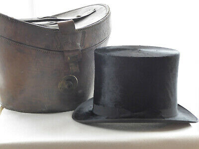 Vintage Black Silk Top Hat & Leather Hat Case - J Wippell and Co