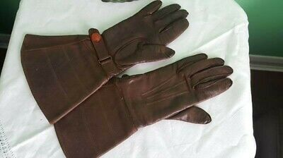 Vintage 1940's 50s Ladies Brown Leather Gauntlet Gloves good condition Small