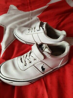 Boys White Leather Ralph Lauren Trainers Kids Size 12