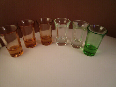 Vintage Mixed Lot of 6 Pink Green Clear Glass Shot Glasses