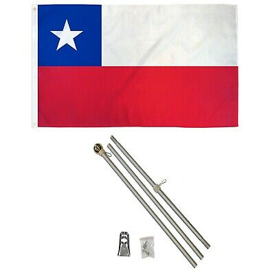 3x5 Chile Flag with 6 Foot Aluminum Flag Pole with Ball Top and Bracket Chilean