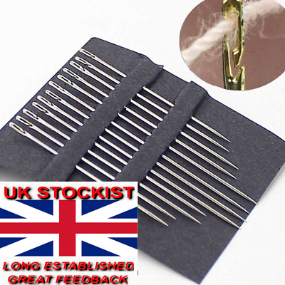 12 X SELF THREADING NEEDLES, ASSORTED SIZES. FAST,FREE POST   s/72