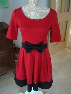 JUST GINGER Red Black Bow Swing Skater Dress Pin Up Retro Vintage 50s Size M  L