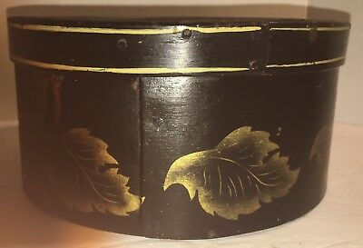 Primitive ROUND WOODEN Stenciled PANTRY BOX Old Paint FOLK ART Wood AAFA