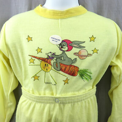 1978 Bugs Bunny Staccabile Bambini Footie Pigiama 4T NOS Warner Bros Loony Toons
