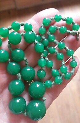 Original Art Deco Hand Knotted Green  Jade? Bead  Necklace C 1930's.