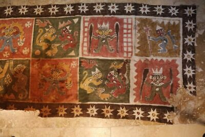 Chimu painted Textile with Monkeys Jaguars birds and Warriors
