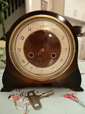 Smith's Enfield Vintage Chiming Mantel Clock Fully Working With Key