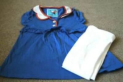 Girls Outfit Next Blue Top And White Leggings 5-6 Years