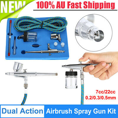 Dual Action Air Brush 0.2/0.3/0.5mm Airbrush Hose Tattoo Paint Spray Gun Set Kit
