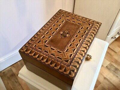 A Super Victorian Walnut & Tunbridgeware  Inlayed Box. Jewellery.sewing.document