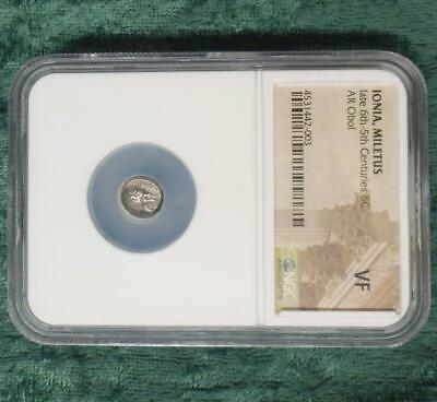 600 BC NGC VF GREEK SILVER IONIA MELETUS ar OBOL,  ROARING LION ANCIENT COIN