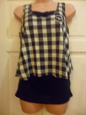 Cherokee Girls Double Layer Top Vests Size 13 - 14 Black & White Summer Party