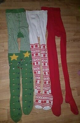 Next Girls 3 Pairs Of Christmas Tights 9-10 Years Light wear