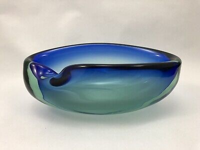 VTG MURANO ART GLASS BOWL Blue Turquoise Sea Green MCM Candy Dish Cigar Ashtray