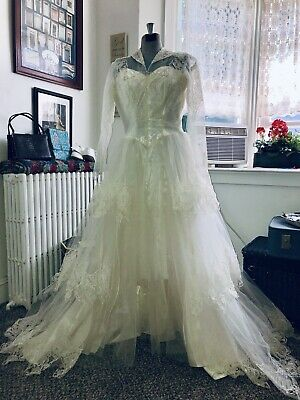 vtg 40s 50s Peter Pan Collar Lace Netting Satin Tulle Wedding Dress 36 26