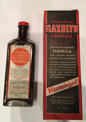 Antique Unopened Medicine Bottle Dr Harris H Luntz's Flaxolyn
