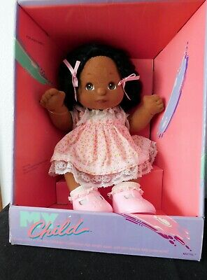 1985 MY CHILD AA DOLL AFRIC AMER, Black Hair, Brown Eyes Pink Party Dress MIB