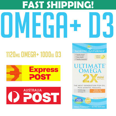 Nordic Naturals Ultimate Omega 2X Vitamin D3 1120 LEMON 60 caps 768990061059 AU