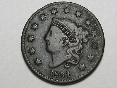 Better-Grade 1834 US Coronet Head Large Cent (Small Date, Large Stars, Rot Rev).