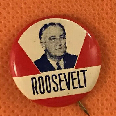 """1 1/4"""" FDR Political PinBack ROOSEVELT Pin Button Advertising Campaign Badge"""