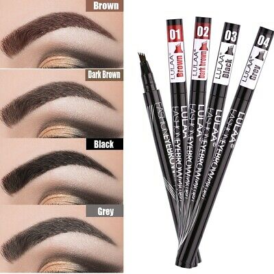 Microblading Tattoo Eyebrow 3D Liquid Ink Pen Waterproof 4 Forks Pencil Brow UK