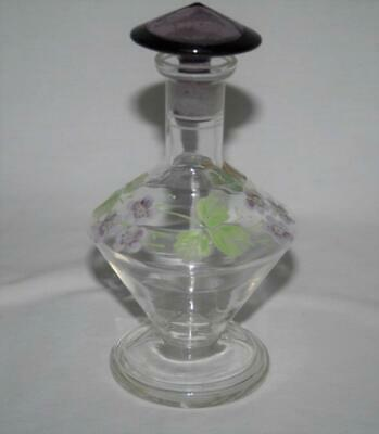 Czech Clear Glass Perfume Bottle with Purple Hand Painted Flowers #2190
