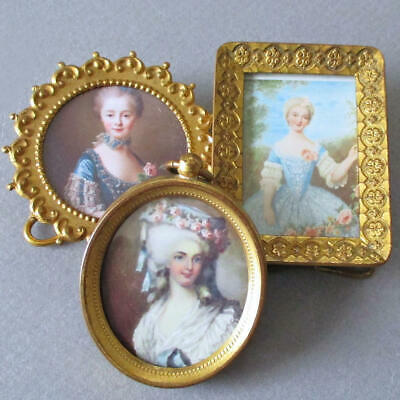 """Lot of 3 Antique c1900 Miniature 2"""" GILT Brass Frames PORTRAITS of French LADIES"""