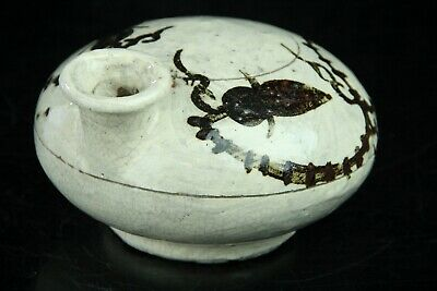 Oct123F  Korean White Porcelain Iron Glaze Bottle Jar Vessel Keiryuzan