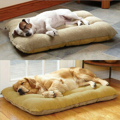 Orthopedic Dog Bed Pillow Plush Sherpa Large Pet Lounger for Crate Foam Soft