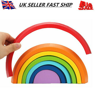 Wooden Rainbow Stacking Game Learning Toys Building Blocks For Kids Baby Toddler